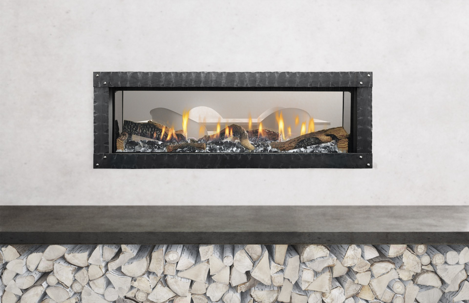 MEZZO 48 See-Through - Photo (Straight On Photo, Loft Forge Front, Iced Fog Media, Natural Log Set, 4C, High Res)